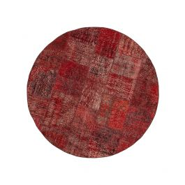 Handwoven Turkish Red Over-dyed Round Patchwork Rug