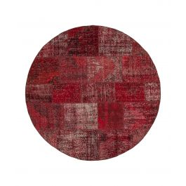 Hand-knotted Anatolian Red Wool Round Patchwork Carpet