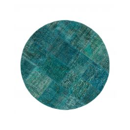 Hand-knotted Turkish Turquoise Overdyed Round Patchwork Carpet