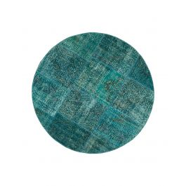 Handwoven Turkish Turquoise Traditional Round Patchwork Rug