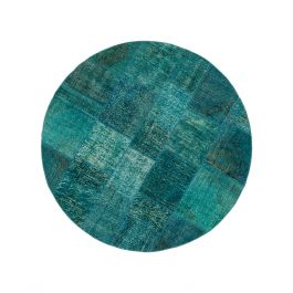 Hand-knotted Anatolian Turquoise Rustic Round Patchwork Carpet