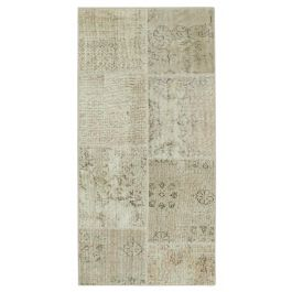 Hand-knotted Anatolian Beige Rustic Patchwork Runner Carpet