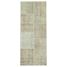 Hand-knotted Turkish Beige Colorful Patchwork Runner Carpet