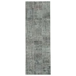 Hand-knotted Turkish Grey Bohemian Patchwork Runner Carpet