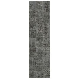 Hand-knotted Anatolian Grey Wool Patchwork Runner Rug