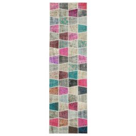 Hand-knotted Anatolian Multi Wool Patchwork Runner Carpet