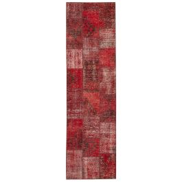Handwoven Turkish Red Traditional Patchwork Runner Rug