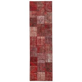 Hand-knotted Oriental Red Wool Patchwork Runner Carpet