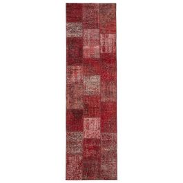 Handwoven Turkish Red Over-dyed Patchwork Runner Rug