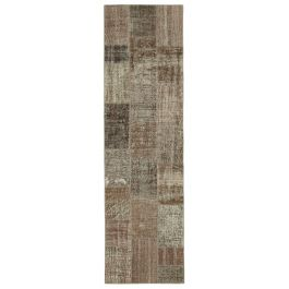 Hand-knotted Anatolian Brown Rustic Patchwork Runner Carpet