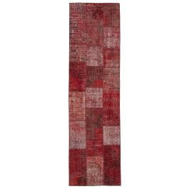 Hand-knotted Turkish Red Unique Patchwork Runner Rug