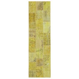 Handwoven Oriental Yellow Colorful Patchwork Runner Carpet
