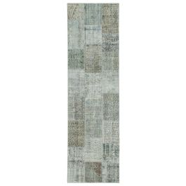 Hand-knotted Anatolian Blue Antique Patchwork Runner Rug