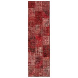 Hand-knotted Anatolian Red Wool Patchwork Runner Carpet