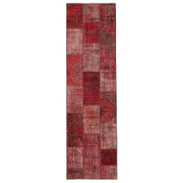 Hand-knotted Oriental Red Antique Patchwork Runner Carpet