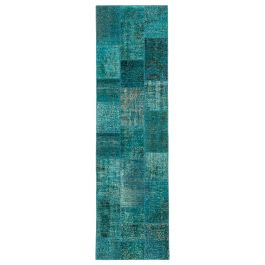 Handmade Oriental Turquoise One-of-a-Kind Patchwork Runner Rug