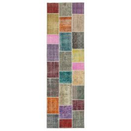 Hand-knotted Oriental Multi Wool Patchwork Runner Carpet