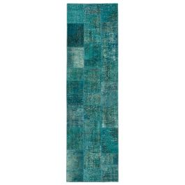 Hand-knotted Anatolian Turquoise Rustic Patchwork Runner Carpet
