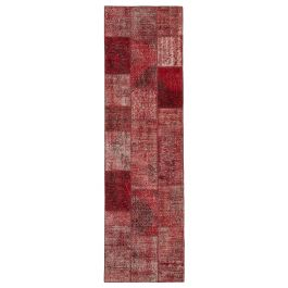 Handmade Turkish Red Over-dyed Patchwork Runner Rug