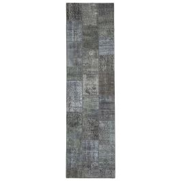 Hand-knotted Oriental Grey Large Patchwork Runner Carpet