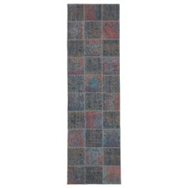 Hand-knotted Oriental Blue Large Patchwork Runner Carpet