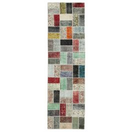 Hand-knotted Anatolian Multi Rustic Patchwork Runner Carpet