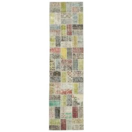 Hand-knotted Turkish Multi Colorful Patchwork Runner Carpet