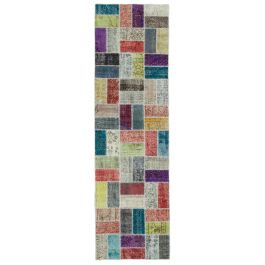 Hand-knotted Turkish Multi Wool Patchwork Runner Carpet