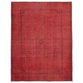 Handmade Turkish Red Low Pile Large Over-dyed Rug