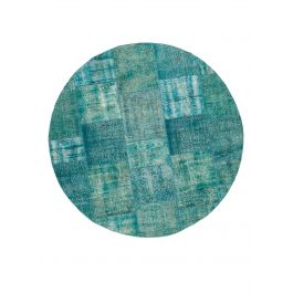 Hand-knotted Turkish Turquoise Unique Round Patchwork Rug