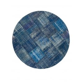 Hand-knotted Turkish Blue Low Pile Round Patchwork Carpet