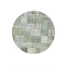 Hand-knotted Anatolian Blue Wool Round Patchwork Rug