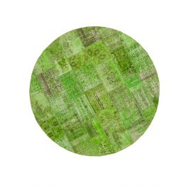 Hand-knotted Oriental Green Large Round Patchwork Carpet