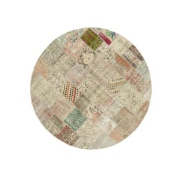 Hand-knotted Oriental Multi Large Round Patchwork Carpet