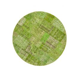 Hand-knotted Anatolian Green Antique Round Patchwork Rug