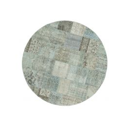 Handwoven Anatolian Blue Distressed Round Patchwork Rug