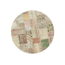 Hand-knotted Anatolian Multi Rustic Round Patchwork Carpet