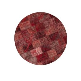 Hand-knotted Oriental Red Wool Round Patchwork Carpet