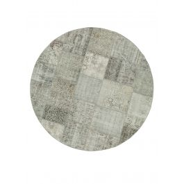 Hand-knotted Anatolian Grey Rustic Round Patchwork Carpet