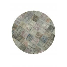 Hand-knotted Turkish Grey Bohemian Round Patchwork Carpet