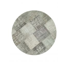 Hand-knotted Turkish Grey Low Pile Round Patchwork Carpet