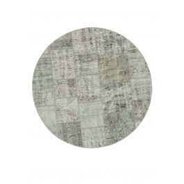 Handwoven Oriental Grey Colorful Round Patchwork Carpet