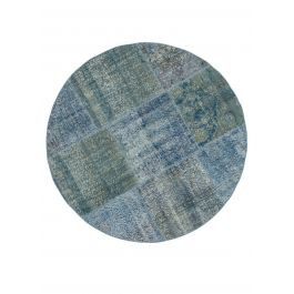 Hand-knotted Oriental Blue Large Round Patchwork Carpet