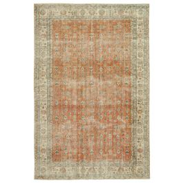 Hand-knotted Turkish Beige Low Pile Area Carpet
