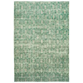 Hand-knotted Anatolian Green Distressed Vintage Carpet