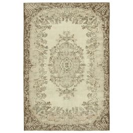 Hand-knotted Anatolian Beige Rustic Vintage Carpet
