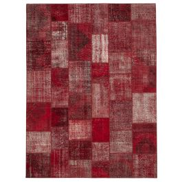 Hand-knotted Turkish Red Colorful Large Patchwork Carpet