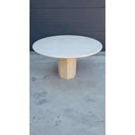 Round Travertine Dining Table in the Style of Up&Up