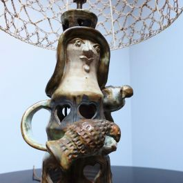 1950'S FRENCH POTTERY LAMP WITH FRETTED HEARTS