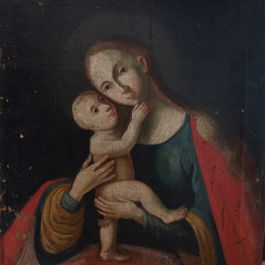 Early 18Thc Painting Of Madonna And Child